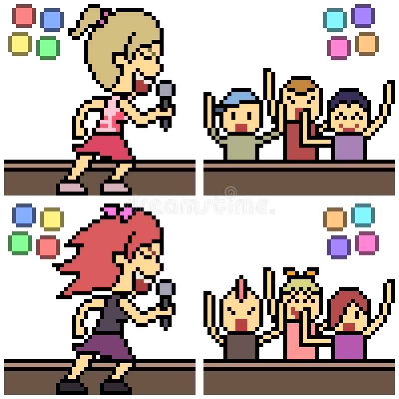 Concert réglé d'art de pixel de vecteur illustration de vecteur