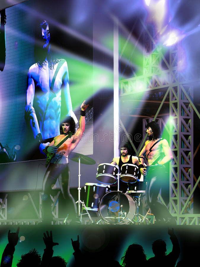 Download Concert of Rock band stock illustration. Image of lights - 18317140
