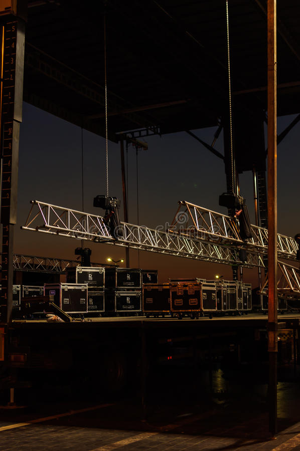 Concert Stage Preparation stock photography