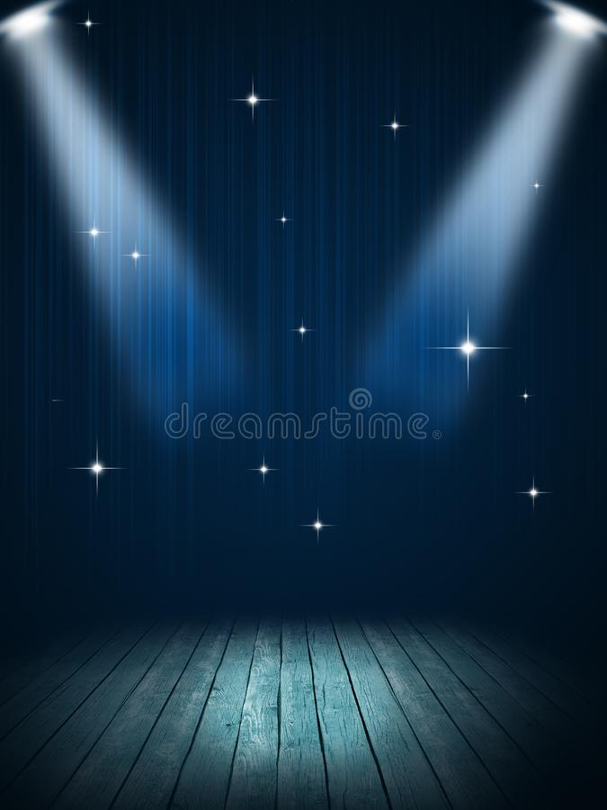 Stage Spotlight Blue Background. Concert stage spotlight party music blue background nightclub posters stock photos