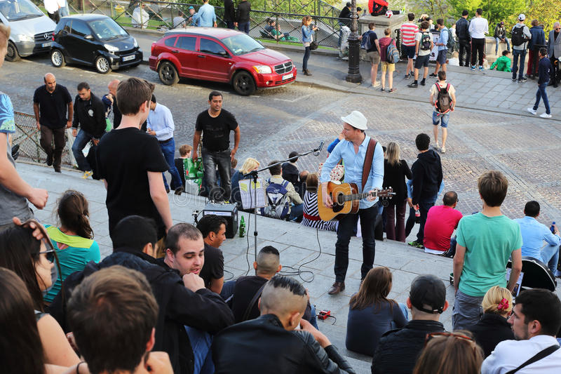 The concert on the staircase to the Sacre Coeur stock photography