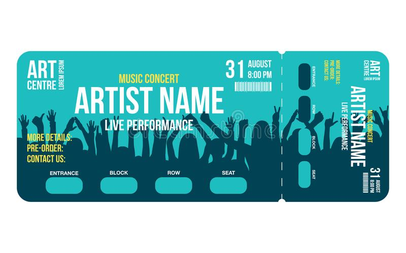Concert Ticket Template. Concert, Party Or Festival Ticket Design ...