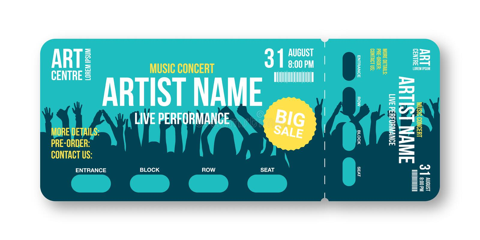 Concert ticket template. Concert, party, disco or festival ticket design template with people crowd on background stock illustration