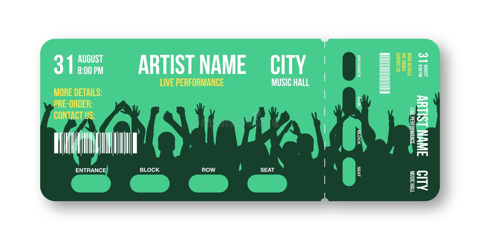 Concert ticket template. Concert, party, disco or festival ticket design template with people crowd on background royalty free illustration
