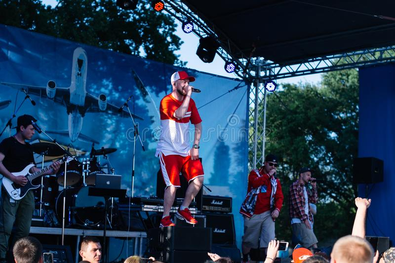 Concert of the Ukrainian rap artist Yarmak May 27, 2018 at the festival in Cherkassy, Ukraine.  stock photo