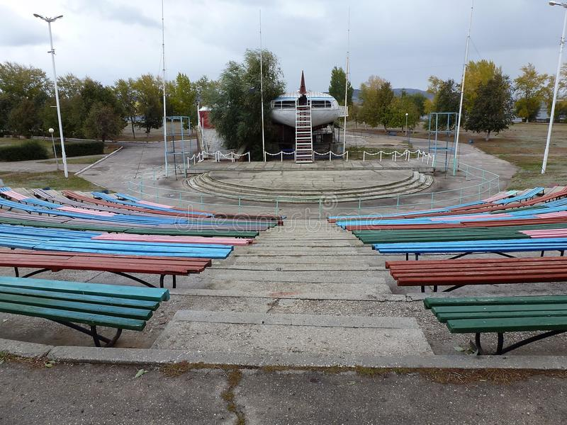 Concert venue at the river port. Empty concert venue on a cloudy day at the river port of Tolyatti royalty free stock photos