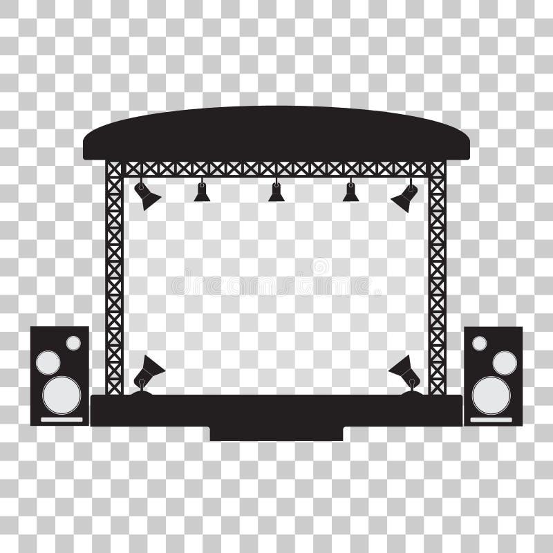 Concertez la conception plate d'étape et de simpl musical d'équipement illustration stock