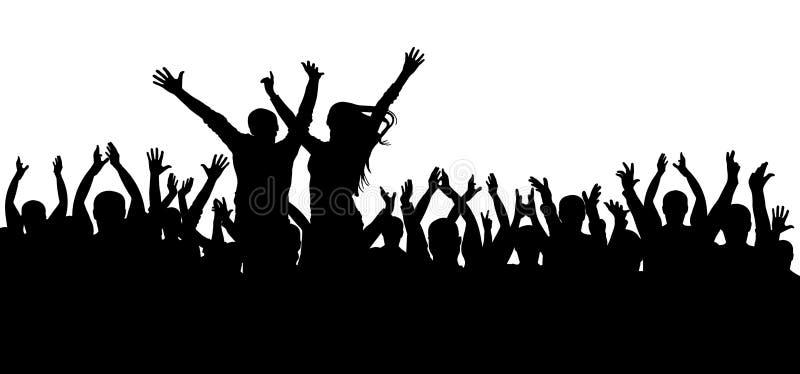 Concertez la disco, silhouette de danse de foule, personnes gaies illustration libre de droits