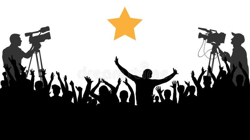 Concerto Cheering dos povos da multidão, partido Fãs de esportes do aplauso O operador cinematográfico dispara em uma celebridade ilustração stock