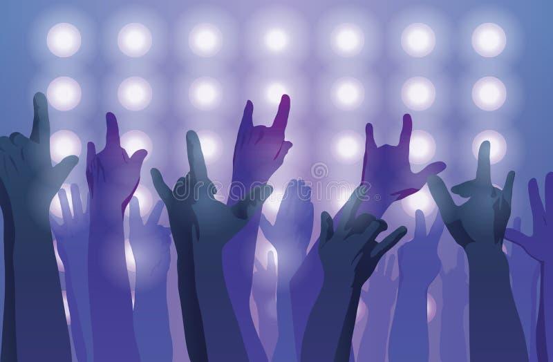 Concerto de rocha Mãos acima ilustração royalty free