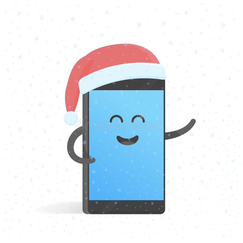 Concerto del nuovo anno di Smartphone in cappello di Santa Telefono sveglio del personaggio dei cartoni animati con le mani, gli  royalty illustrazione gratis