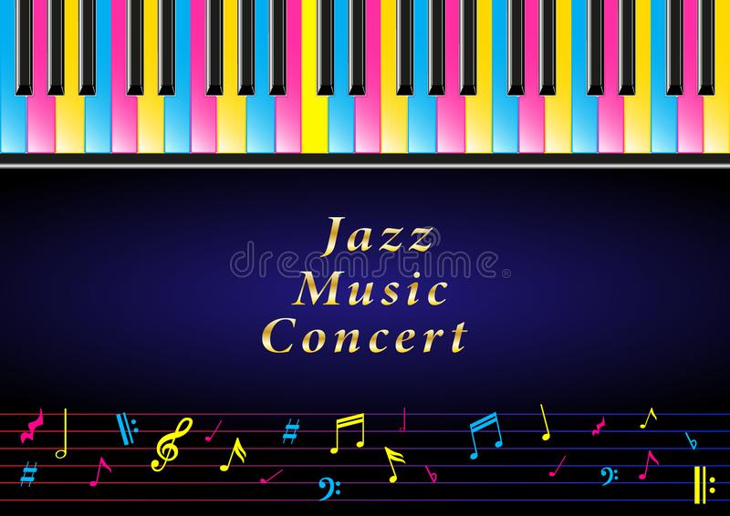 Concerto di musica del manifesto Di chiavi colorate multi realistiche del piano e note musicali royalty illustrazione gratis