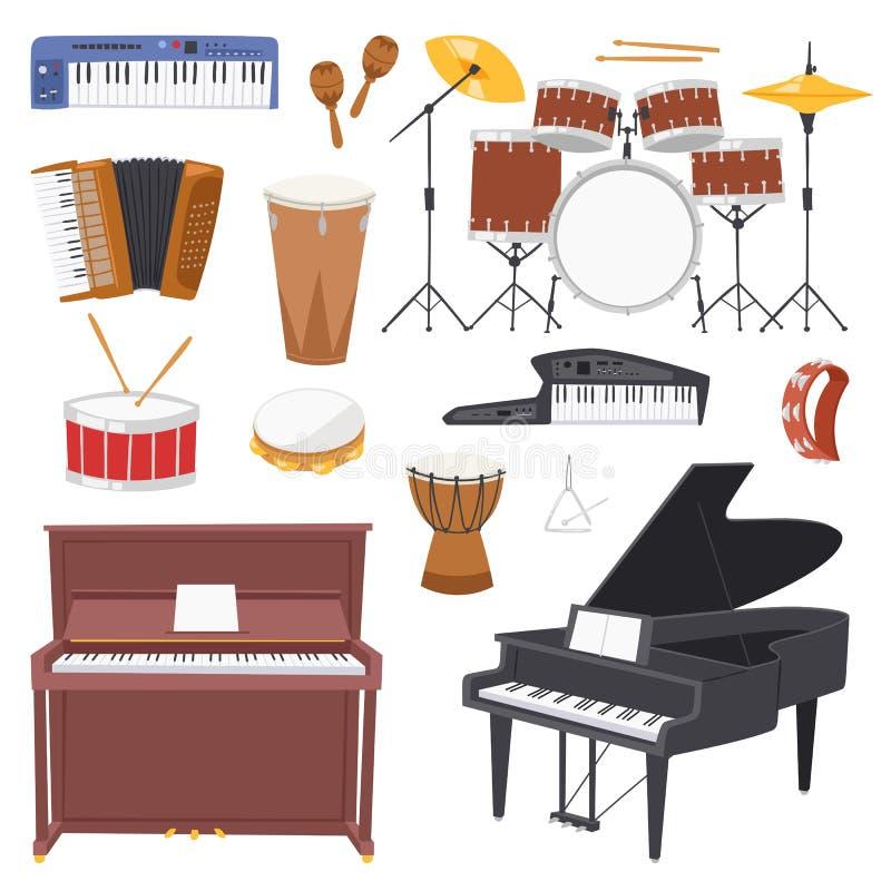 Concerto di musica di vettore degli strumenti musicali con l'insieme dell'illustrazione del piano o del sintetizzatore e della ba illustrazione di stock