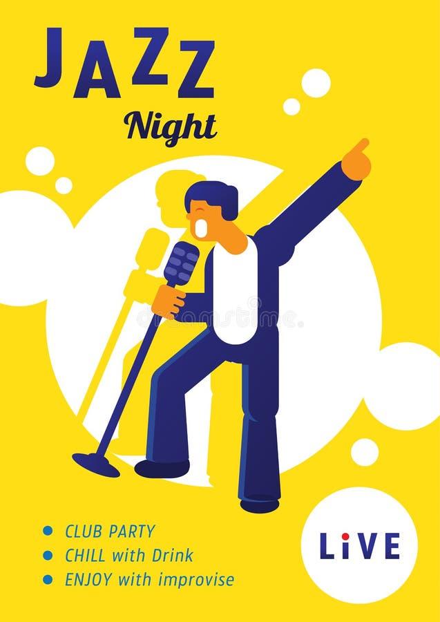 Concerto di notte di jazz con la stella del cantante royalty illustrazione gratis