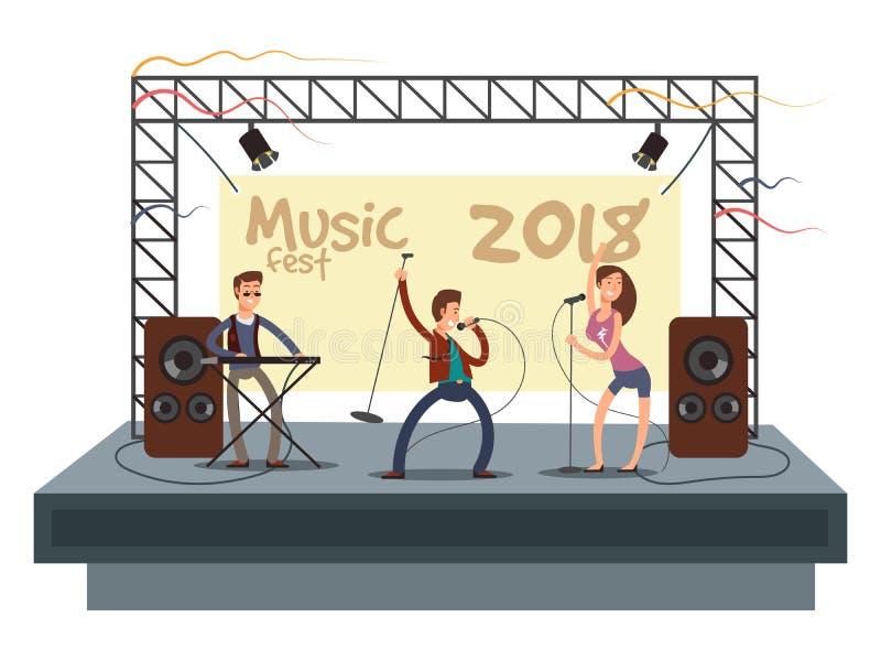 Concerto do festival de música com a faixa do musica pop que joga a música O dueto do músico e do cantor na fase vector a ilustra ilustração do vetor