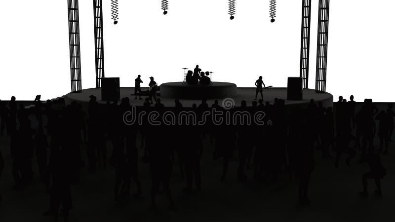 Concerto, musica in diretta, banda, prestazioni e festival Giro e banda Spettatori divertimento, musica e ballo Discoteca, sera m illustrazione vettoriale