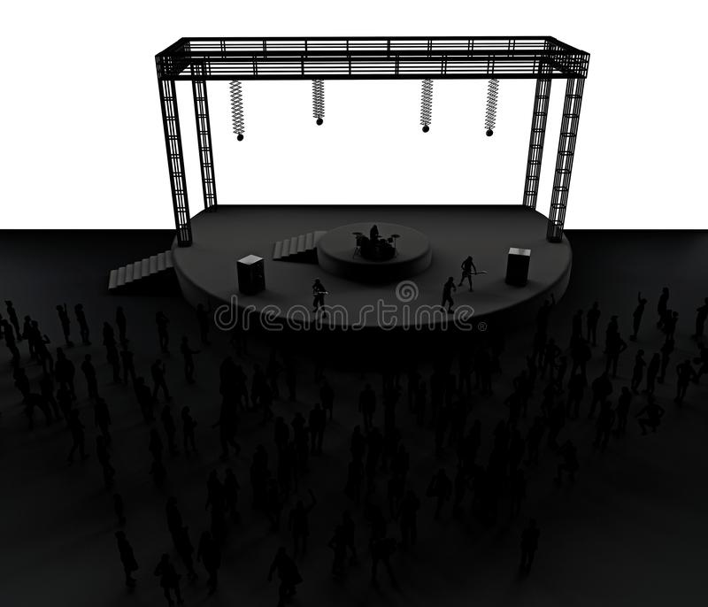 Concerto, musica in diretta, banda, prestazioni e festival Giro e banda Spettatori divertimento, musica e ballo Discoteca, sera m royalty illustrazione gratis