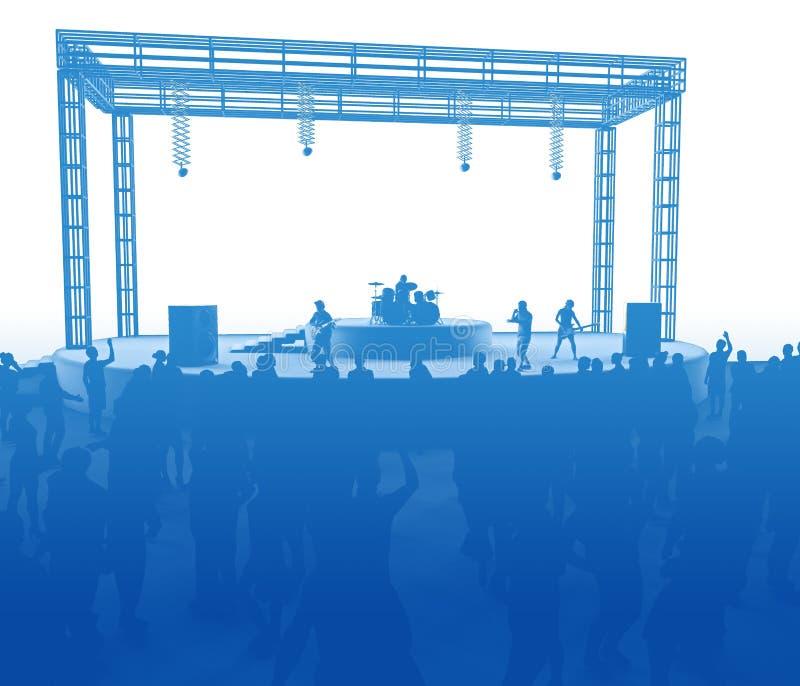 Concerto, musica in diretta, banda, prestazioni e festival Giro e banda Spettatori divertimento, musica e ballo Discoteca, sera m illustrazione di stock