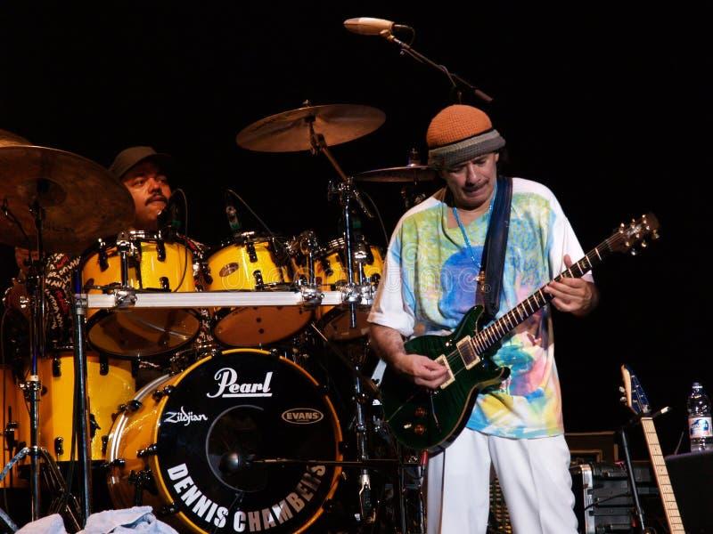 Concerto in tensione della fascia del Carlos Santana fotografia stock