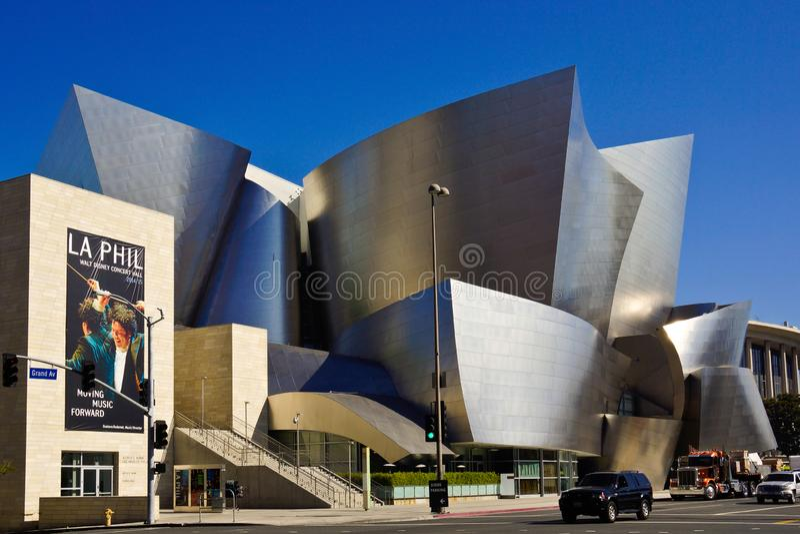 Concertzaal in van de architectuurbedelaars van Los Angeles moderne openhartige gehry stock foto