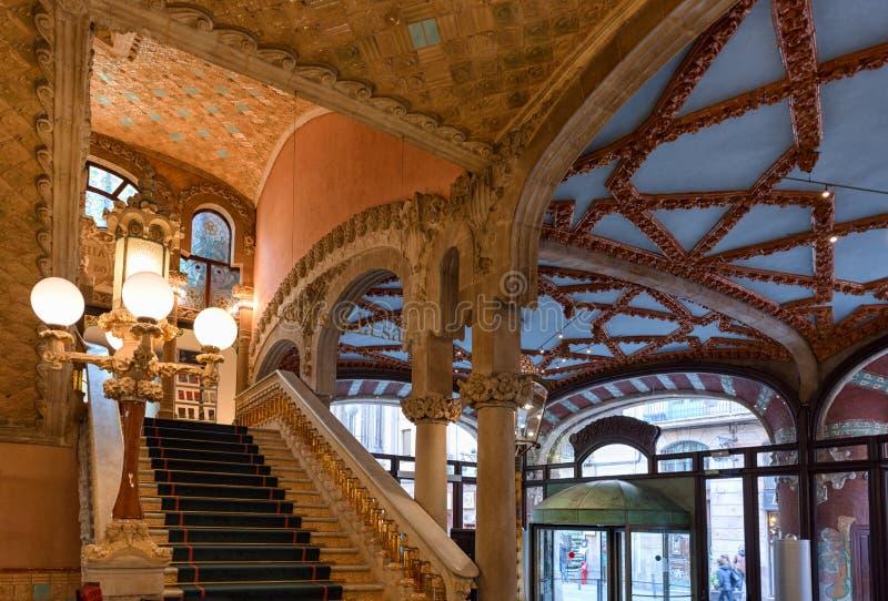 Concertzaalbinnenland, Paleis van Catalaanse Muziek, Barcelona, Spanje royalty-vrije stock afbeeldingen