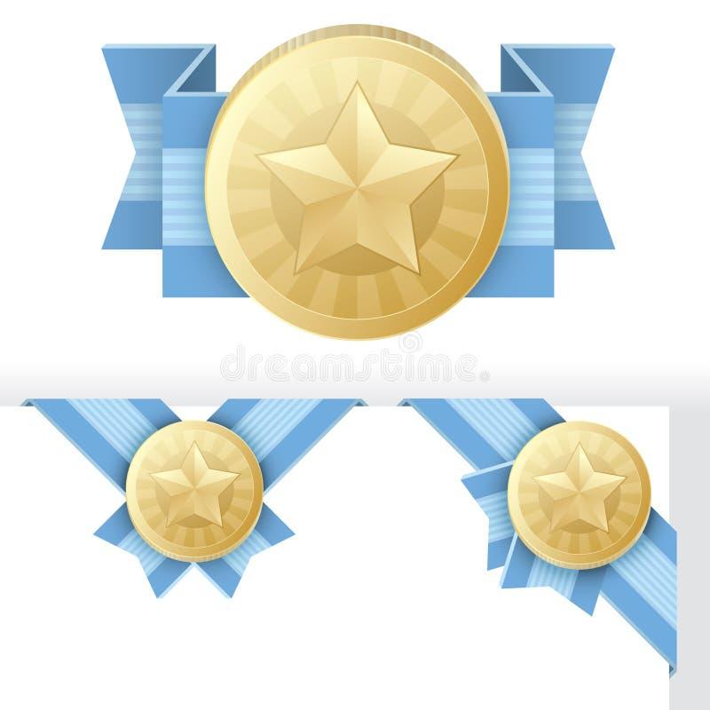 Concesión, certificación, o sello de la estrella del oro ilustración del vector