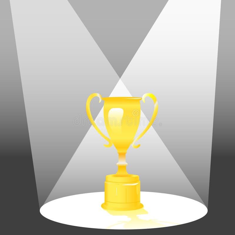 Concesión del trofeo en proyector stock de ilustración