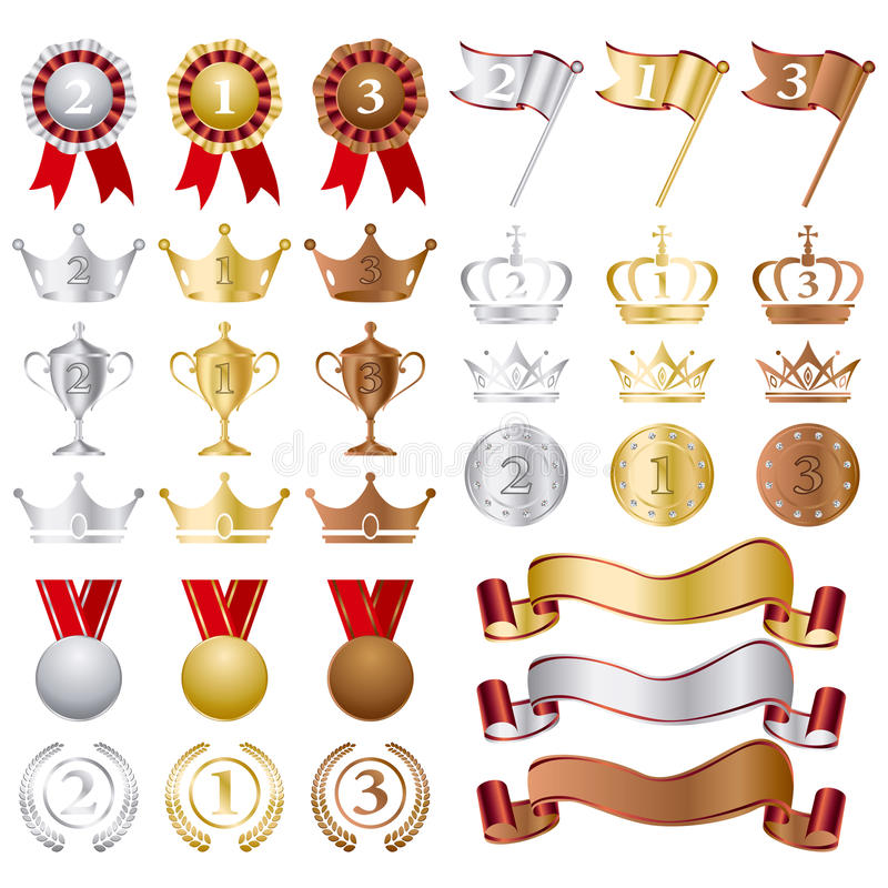 Concesiones de plata del bronce del oro fijadas stock de ilustración