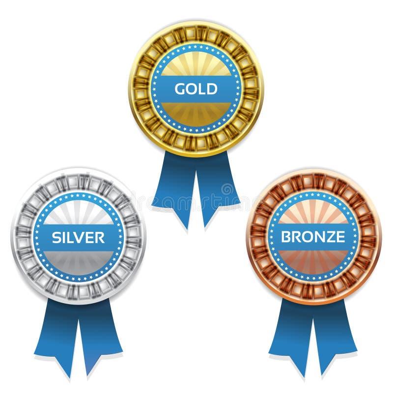 Concesiones del oro, de la plata y del bronce ilustración del vector