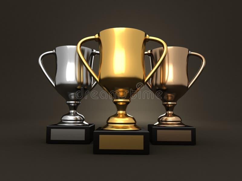 Concesiones - trofeos del oro, de la plata y del bronce stock de ilustración
