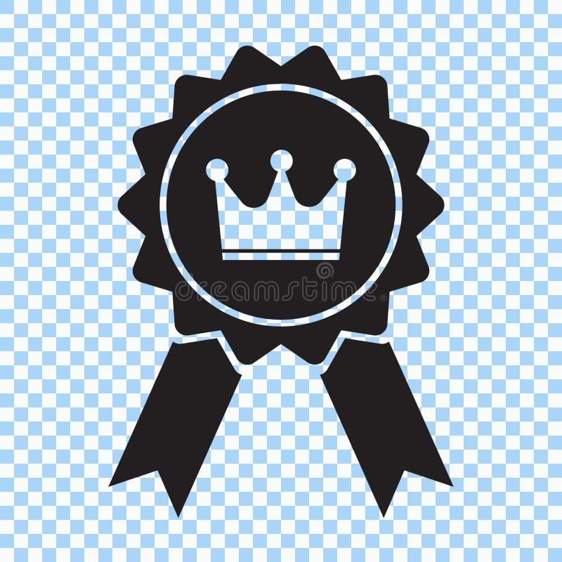 Concessão com ícone da coroa e da fita O melhor símbolo bem escolhido Ilustração do vetor ilustração stock