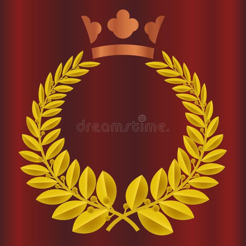 Concessão da coroa da grinalda de Bayleaf no fundo vermelho da cortina de veludo Coroa real na cor de cobre Vitória, honra, vetor ilustração royalty free