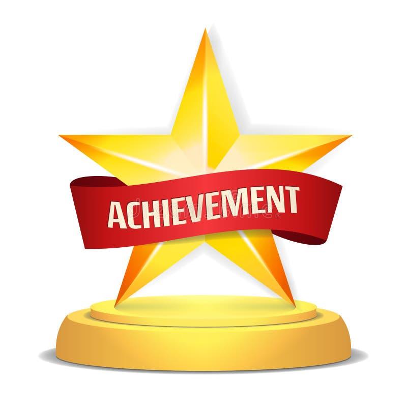 Concessão da estrela do ouro Fita vermelha com lugar para o texto Ilustração do vetor Troféu moderno, prêmio do desafio Brilhante ilustração royalty free