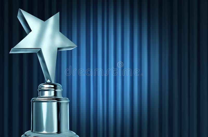 Concessão de prata da estrela em cortinas azuis ilustração royalty free