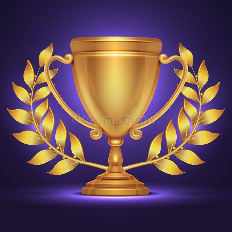 Concessão do copo do troféu do ouro olímpico para o vencedor do esporte com ilustração do vetor da grinalda do louro ilustração royalty free