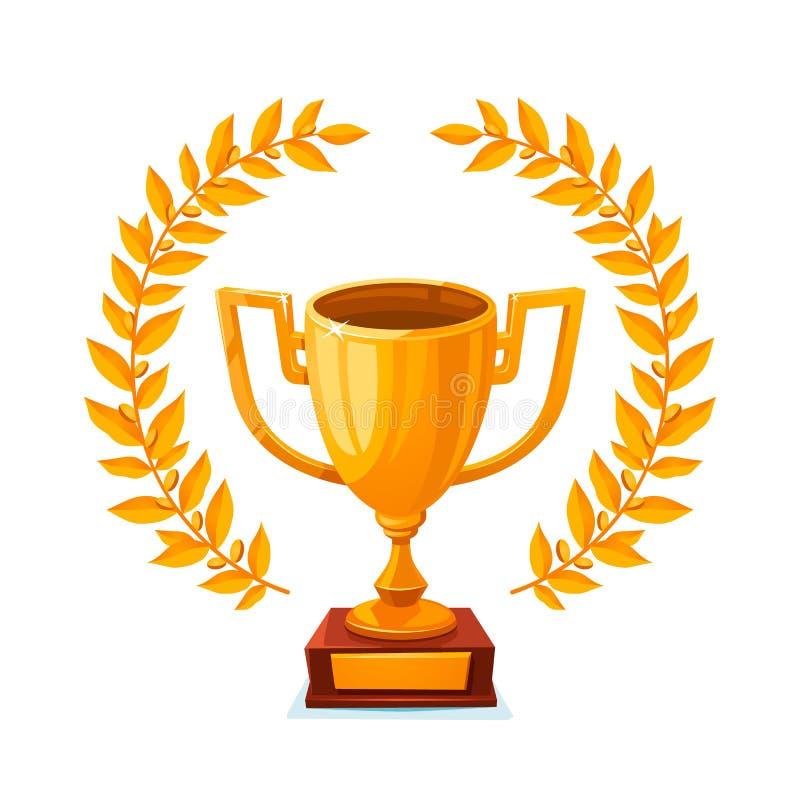 Concessão do vencedor do lugar do copo metálico dourado do troféu primeira com ilustração do vetor da grinalda do louro ilustração do vetor