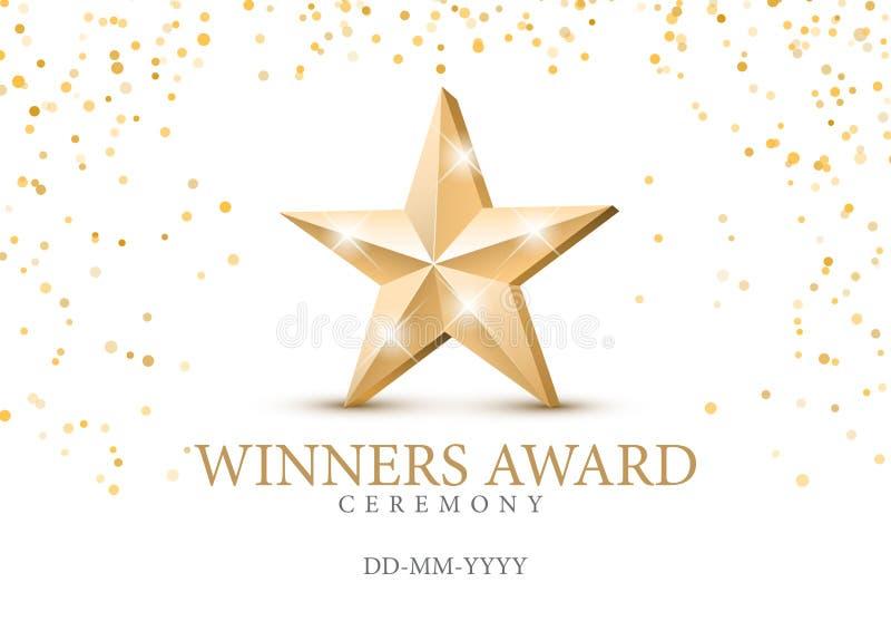 Concessão do vencedor símbolo da estrela 3d do ouro ilustração do vetor