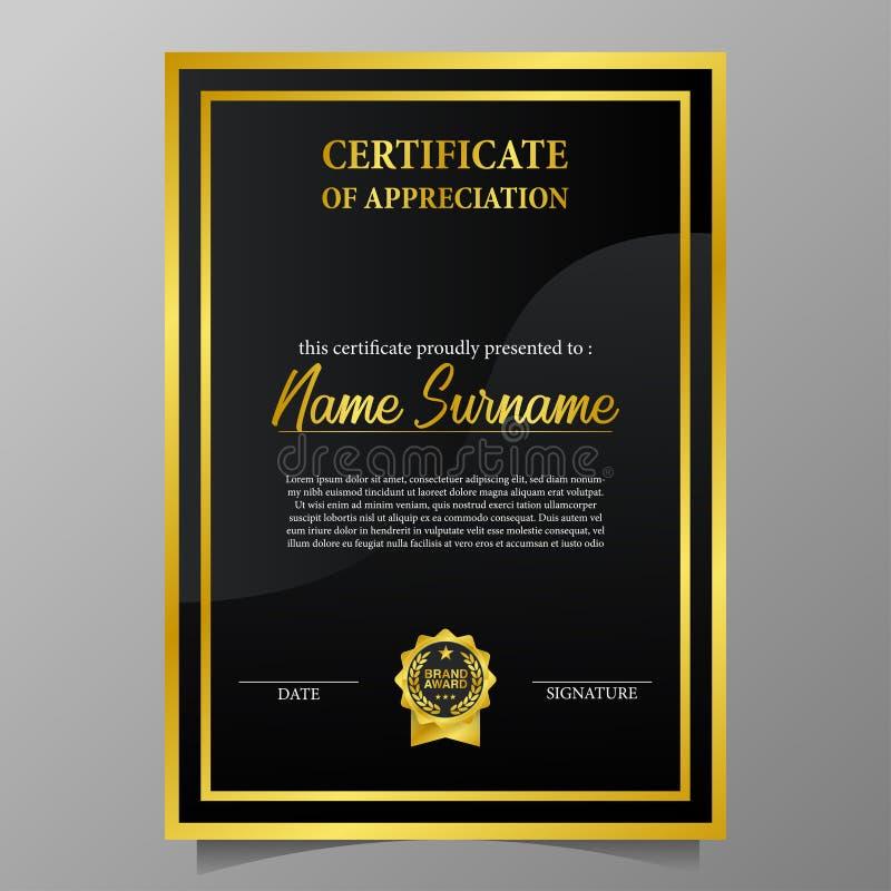 Concessão luxuosa do certificado A4 com a medalha dourada do pino do emblema com olhar luxuoso ilustração do vetor