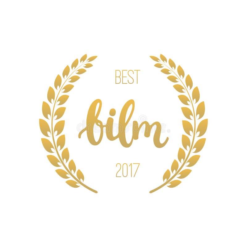 Concessões do melhor filme com grinalda e texto 2017 Ilustração dourada do cinema da cor isolada no fundo branco ilustração stock