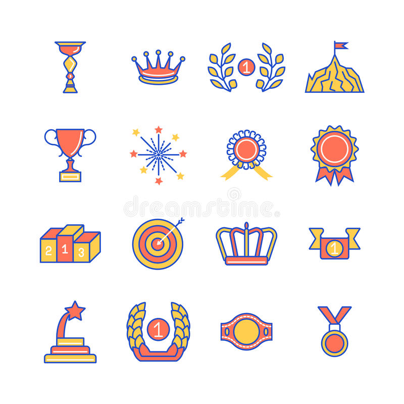 Concessões e linha fina ícones coloridos plano do ø melhor lugar do pódio isolados no fundo branco ilustração royalty free
