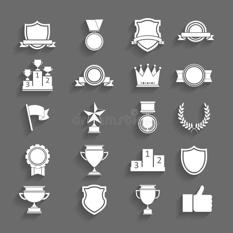 Concessões e troféus ajustados dos ícones. ilustração royalty free