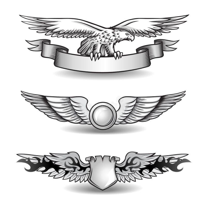 Concessões voadas ajustadas com Eagle ilustração royalty free