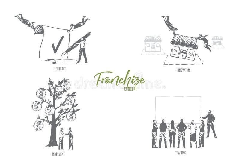 Concession, contrat, innovation, investissement, croquis de concept de formation illustration libre de droits
