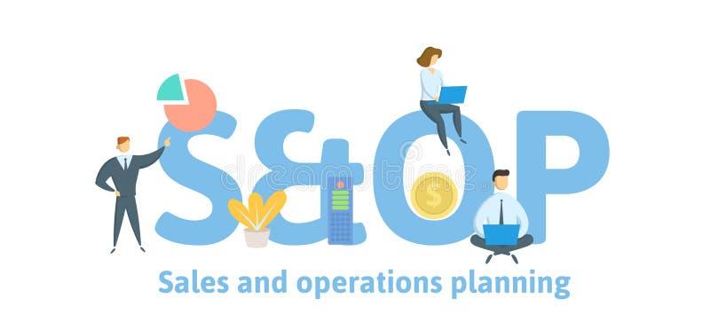 CONCESSION, ventes et planification d'opérations Concept avec des mots-clés, des lettres et des icônes Illustration plate de vect illustration libre de droits
