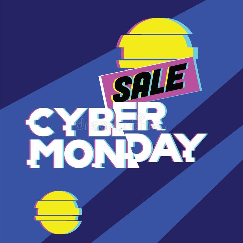 Concet cibernético de lunes de la venta Compras, venta y descuento publicitarios, en línea en tienda del web y tienda de Internet stock de ilustración