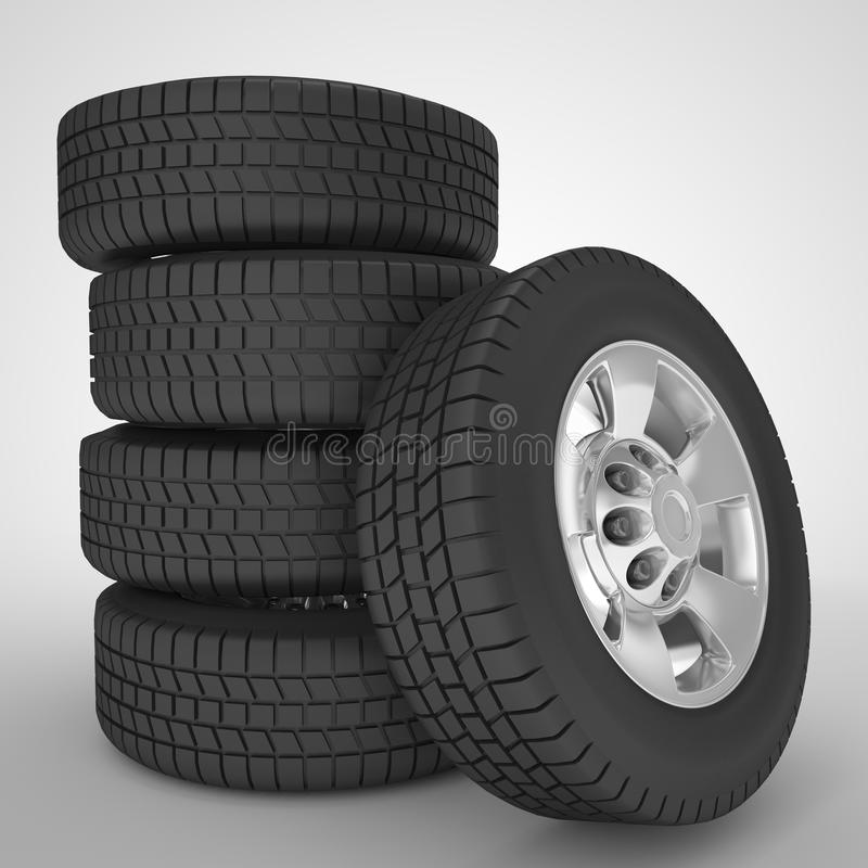 Concetti automobilistici delle ruote di automobile illustrazione di stock