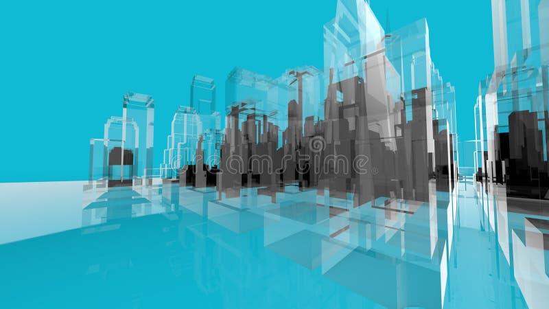 Concetti blu di creatività di architettura di movemen di Wireframe illustrazione vettoriale