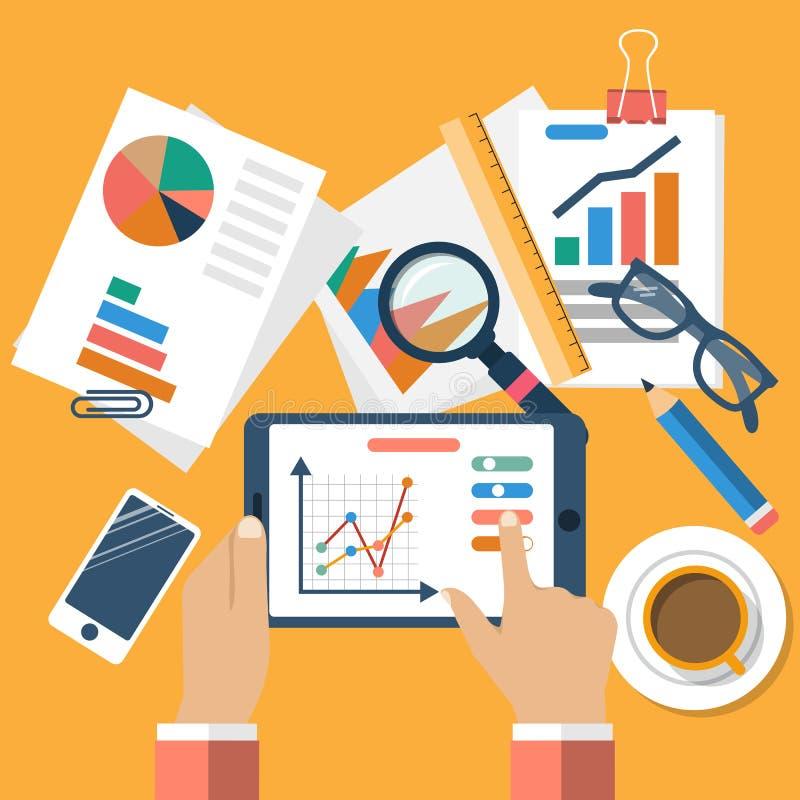 Concetti di affari, progettazione piana illustrazione di stock