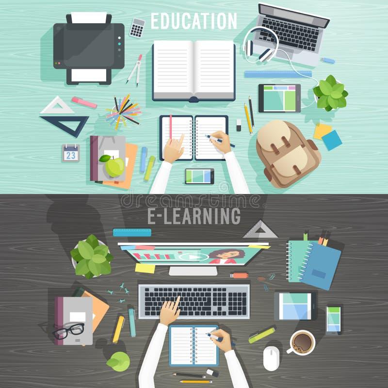 Concetti di e-learning e di istruzione royalty illustrazione gratis