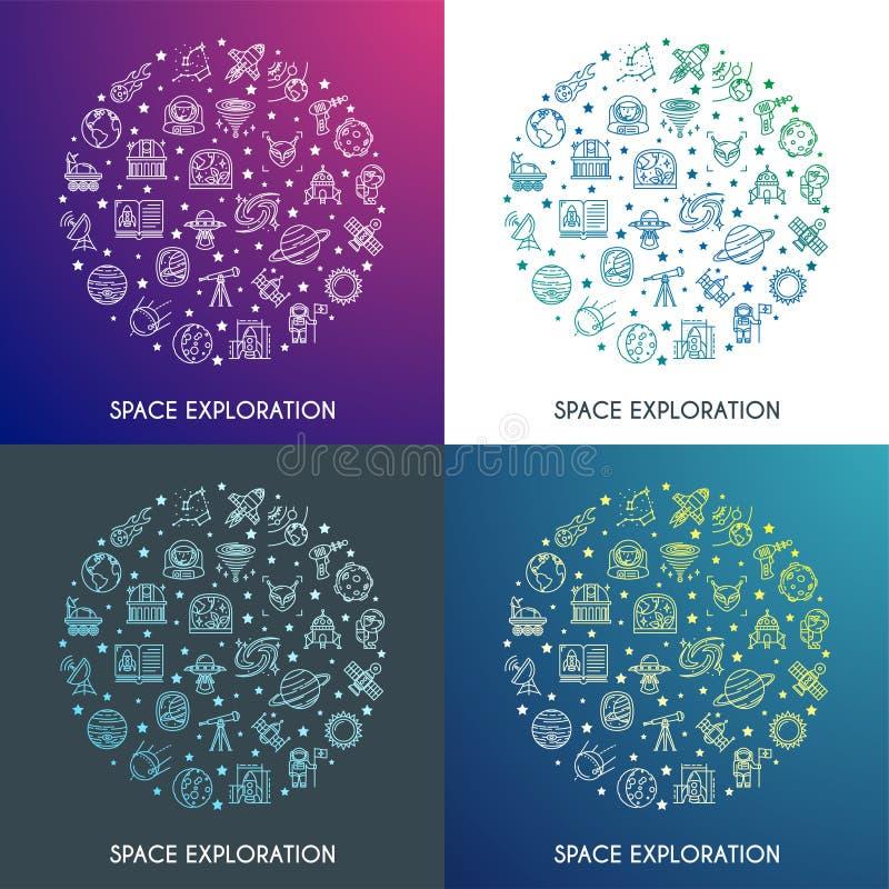 Concetti di esplorazione spaziale fissati illustrazione di stock